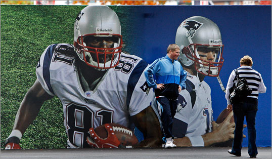 There wasn't a large crowd the day before the game, but some fans still had fun with posters of Patriots players.