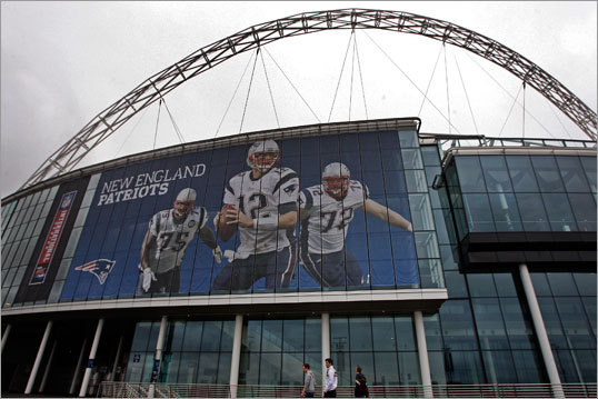 Not that the marketing strategy would possibly be any different, but Tom Brady was front and center on the Patriots-related signage in London.