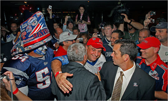 Patriots owner Robert Kraft (center, facing away) greeted fans at the pre-match event Saturday night.