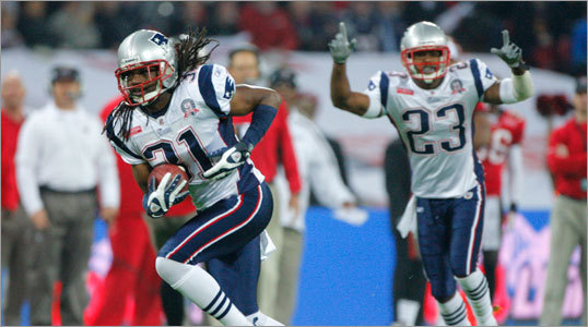 Patriots safety Brandon Meriweather intercepted a pass on Tampa Bay's first offensive drive and returned it for a touchdown in the first quarter.