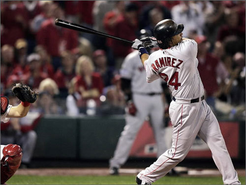 In Game 3, Ramirez hit a home run in the first inning of the first game in St. Louis. In all four of their victories during the sweep, the Red Sox held the lead after the first inning. The Red Sox built the lead to 4-0 after five innings, and the Sox went on to a 4-1 victory behind Pedro Martinez, who was stellar in what would be his final start in a Red Sox uniform.