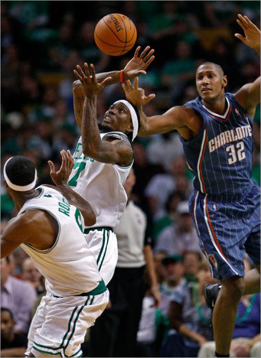 Celtics guard Marquis Daniels beat Boris Diaw to a first half rebound.