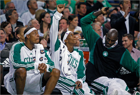 The Celtics won in a romp, so late in the game, Kevin Garnett (right) and Paul Pierce (left), along with Rajon Rondo, had a great time on the bench as they cheer on the reserves, who played most of the fourth quarter.
