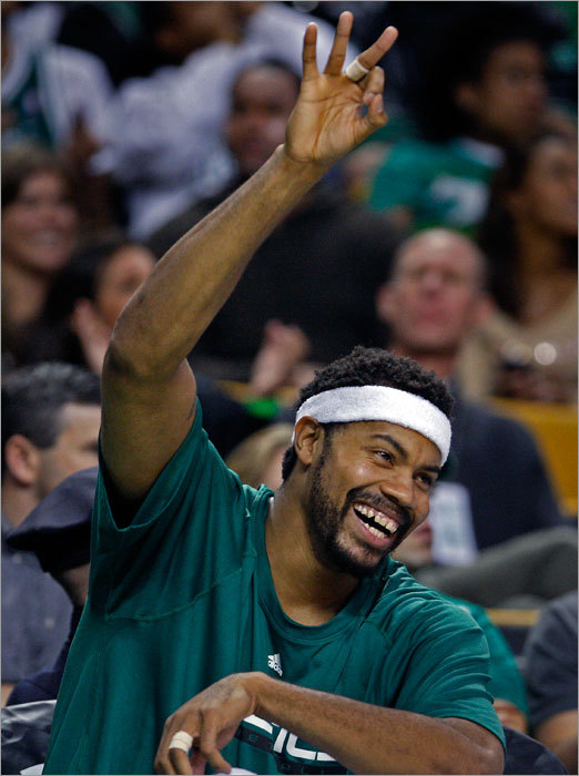 Rasheed Wallace was all smiles on the bench in the fourth quarter after the Celtics had put the game out of reach for the Bobcats.