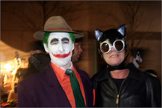 Carl Baldasoro and Kathy Engwer of Chester dressed up as classic Batman characters.<