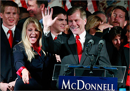 Virginia's governor-elect Robert F. McDonnell, a Republican and an ex-state attorney general, with his wife, Maureen, last night.