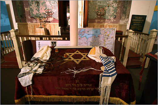 Artifacts on display at The Vina Shul, Boston's Center for Jewish Culture on Phillips Street.