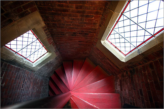The spiraling old staircase leading up to the bell-ringing area high in the Church of the Advent.