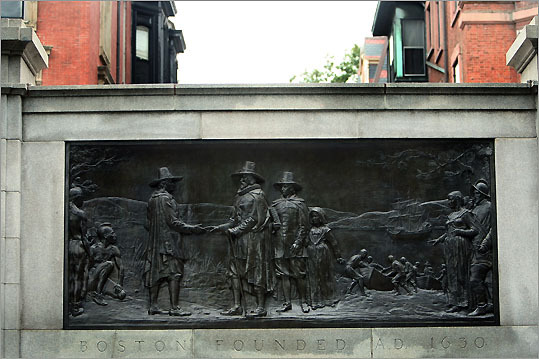 When the Puritans found Charlestown to be without clean water, William Blackstone, Boston's first European settler, charitably extended a welcoming hand to John Winthrop and his flock, a scene depicted by the Founders Monument on Boston Common.