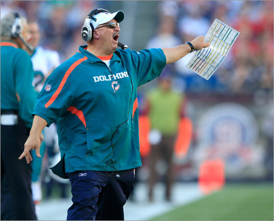 Dolphins coach Tony Sparano called to his team during the first half.