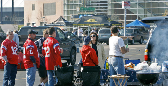 The summery conditions led many fans to get to Foxborough early for some tailgating.