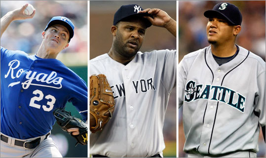 This might be the closest vote of any. The Royals' Zack Greinke (left), Mariners' Felix Hernandez (center) and Yankees' CC Sabathia are all possibilities. <!-- // define variables var date = new Date(); var current_time = date.getTime(); // write SCRIPT tag to browser document.writeln(' '); // -->