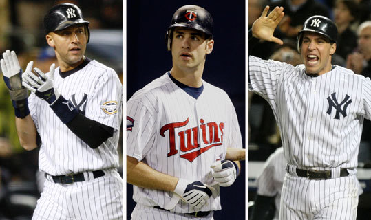 Lots of debate surrounds this award, with Joe Mauer (center) of the Twins right in the mix along with Yankees teammates Derek Jeter (left) and Mark Teixeira (right). <!-- // define variables var date = new Date(); var current_time = date.getTime(); // write SCRIPT tag to browser document.writeln(' '); // -->