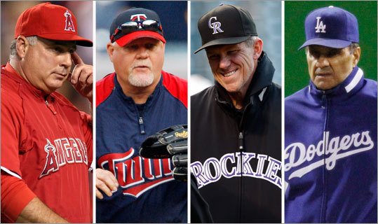 In the American League, Angels manager Mike Scioscia (far left) and the Twins' Ron Gardenhire (second from left) are seen as the favorites, and Joe Girardi of the Yankees and Ron Washington of the Rangers are also in the conversation. <!-- // define variables var date = new Date(); var current_time = date.getTime(); // write SCRIPT tag to browser document.writeln(' '); // --> In the National, Colorado's Jim Tracy (second from right) and Joe Torre of the Dodgers are the top contenders. <!-- // define variables var date = new Date(); var current_time = date.getTime(); // write SCRIPT tag to browser document.writeln(' '); // -->