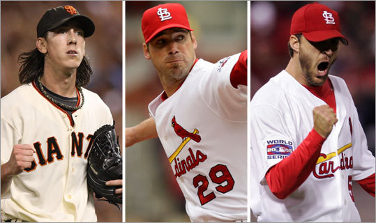 The Giants' Tim Lincecum (left) could repeat as the winner here, but expect Chris Carpenter (center) and Adam Wainwright of the Cardinals to also receive votes. <!-- // define variables var date = new Date(); var current_time = date.getTime(); // write SCRIPT tag to browser document.writeln(' '); // -->