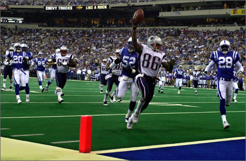 Oct. 21, 2001: Patriots 38, Colts 17 At halftime, the game was all but over with the Patriots up 28-6 in Indianapolis. The Colts had more offensive yards, but the Patriots' defense held Colts QB Peyton Manning to just one touchdown. Patriots QB Tom Brady threw for three touchdowns, two to David Patton (pictured). It was a game of receivers: Marvin Harrison had 157 yards, Troy Brown had 120, and Patten finished with 117 receiving yards.