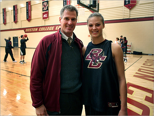 Scott Brown posed with Ayla in November during a practice at BC.