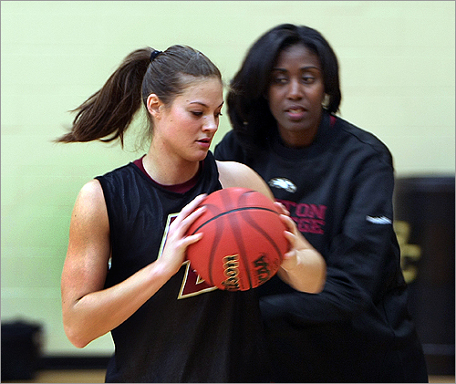 "Brown's head coach, Sylvia Crawley, right, drilled the BC women's basketball team by trying to create the pressure of a real game during practice. Crawley says Brown is an important asset to the team. ""She's a clutch player,'' Crawley says. ""She has that mentality.''"