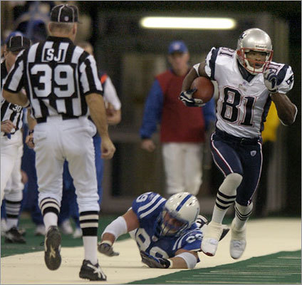 Nov. 30, 2003: Patriots 38, Colts 34 The teams did not meet in the 2002 season, the last year they did not play. In 2003, the Patriots entered the game with a 9-2 record. QB Tom Brady threw two TDs and two interceptions while Colts QB Peyton Manning had four scores and one interception. The teams combined for 552 total yards, but there wasn't a position player that totaled more than 100 yards. One crucial play came with 11 seconds left in the first half when Bethel Johnson (81) returned a kick 92 yards to give the Patriots a 14-point lead at halftime. The Patriots made a goal-line stand at the end of the game to preserve the win.