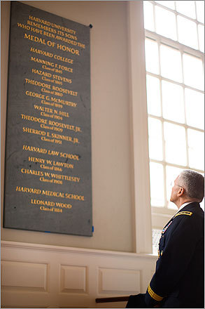 At Harvard University's Memorial Church, hundreds gathered to dedicate a plaque in the sanctuary for Harvard's 10 recipients of the Medal of Honor. Pictured, General George Casey Jr., chief of staff of the US Army, read the plaque.