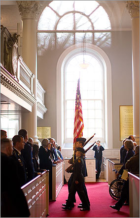 The Harvard ROTC processed with the flag at the close of the memorial service.
