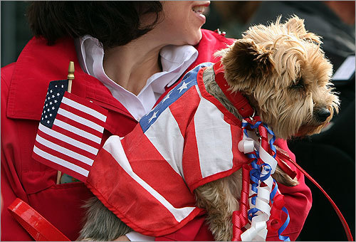 Mary Ann Ponti of Boston made sure her patriotic dog, Cannoli, got a good look at the parade along Tremont Street.