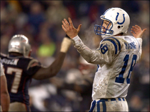 Jan. 18, 2004: Patriots 24, Colts 14 The Colts and Patriots met a month and a half later in the AFC Championship. The Colts had 446 total yards to the Patriots 402, but one extra turnover by the Colts helped the Patriots to hold on to the win. Peyton Manning was 23-for-47 for 237 yards, but four interceptions were costly. The Patriots went on to defeat the Carolina Panthers in Super Bowl XXXVIII.