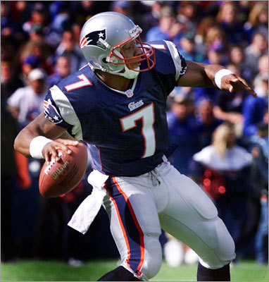 Oct. 8, 2000: Patriots 24, Colts 16 The Patriots used three quarterbacks and won at home. The Patriots went 5-11 in 2000, but were able to score 14 points in the final quarter to steal a win from Indianapolis in this one. Peyton Manning threw 54 passes, completing 31 for 334 yards, a touchdown and 3 interceptions. The Patriots used Drew Bledsoe (15 for 23, 142 yards, 2 TDs), Lee Johnson (1 for 1, 18 yards), and Michael Bishop, pictured here, throwing his only pass attempt: a 44-yard touchdown to Tony Simmons on the last play of the first half.