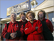 Former employees Rose McGuire, Kathy Hogan, Claire Barrett and Marie Perkins stood outside the recently closed Brigham's in Arlington.