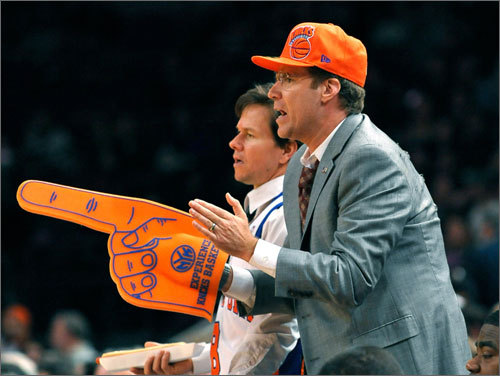 Actors Mark Wahlberg (left) and Will Ferrell were at Madison Square Garden on Sunday, both in Knicks gear, for the Celtics-Knicks game. Neither are truly Knick fans, but in the movie they're filming, titled 'The Other Guys,' both play detectives who love the Knicks. The Celtics won the game 107-105 in overtime.