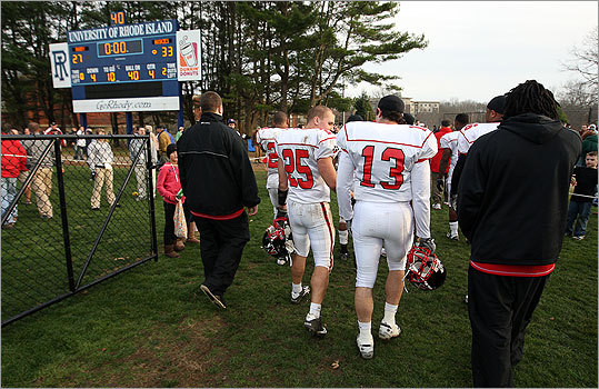 Northeastern players walked off the field Saturday at the University of Rhode Island, winners for the last time in the team's final game.