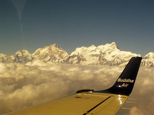 Flying over the Himalayas in Nepal.