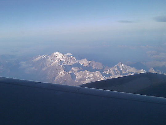 Just after sunrise over the Italian Alps.