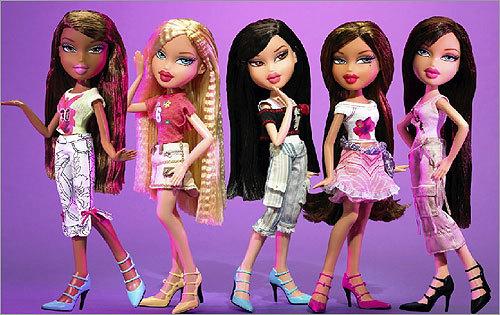 2001: Bratz Barbie with an attitude? The Bratz dolls had big heads, skinny bodies, and wore lots of makeup — and girls loved them. The original Bratz were named Cloe, Jade, Sasha, and Yasmin, but in subsequent years, spin-off lines of Bratz (Bratz Boys, Bratz Kidz) continued to sell well.