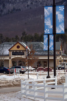 NEED AN OUTLET? Outlet shopping is a hit or miss sport. Increase the odds of scoring a deal in tax-free New Hampshire at the 60-plus shops of North Conway's Settlers' Green Outlet Village. There are some new stores among the familiar shops ringed by mountains on the ski town's well-known Route 16. Shoppers will find Talbots, the women's clothing, shoes, and accessories store; and Under Armour, an outlet for today's athletes. The guy chairs near the door at Coach are welcome as women shop for handbags. Standards include sampling the treats at Harry & David. Find something sporty at Eddie Bauer or adventurous at Banana Republic. The Sunglass Hut has shades for all seasons, while bling is the thing behind the sparkling displays at Zales. Let the kids work off the slices of Brandli's pizza in the courtyard playground. A Dec. 5 holiday tree festival with horse-powered wagon rides and mini-tubing park will prepare shoppers for another blustery Mount Washington Valley winter. Route 16, 888-667-9636, settlersgreen.com , website has special offer coupons MARTY BASCH