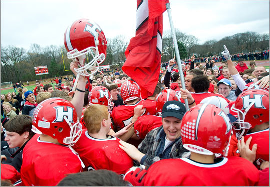 Holliston celebrated its big win over Westwood High School.