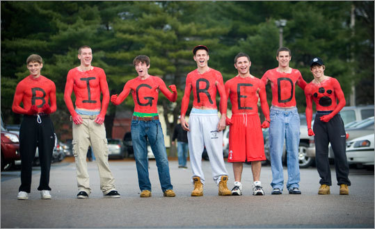 Holliston students demonstrated their school spirit (and resistance to cold) by painting their sentiments on thier bare chests.