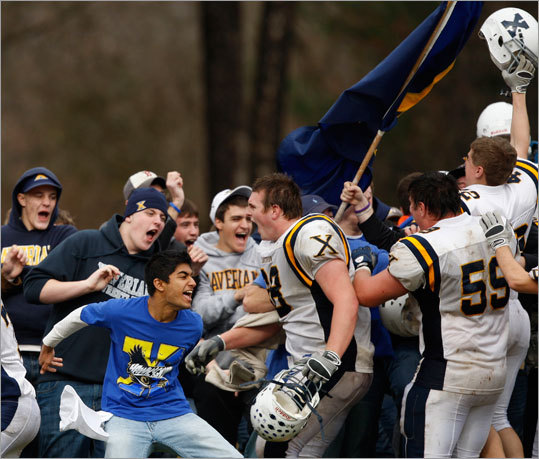 Xaverian's players and fans celebrated their 21-16 victory over St. John's Prep.
