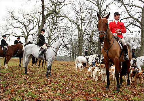 Myopia Hunt Club closed-out its season with its annual Thanksgiving day hunt, featuring old English traditions that remain very real and serious to a small band of hunters who dress in colorful garb. Huntsman Richard Emmot gathered his hounds and riders at Appleton Farms in Ipswich.