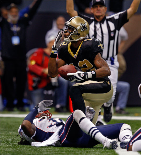Saints receiver Marques Colston put the finishing touch on a 38-17 victory over the Patriots on Monday with a fourth-quarter touchdown.