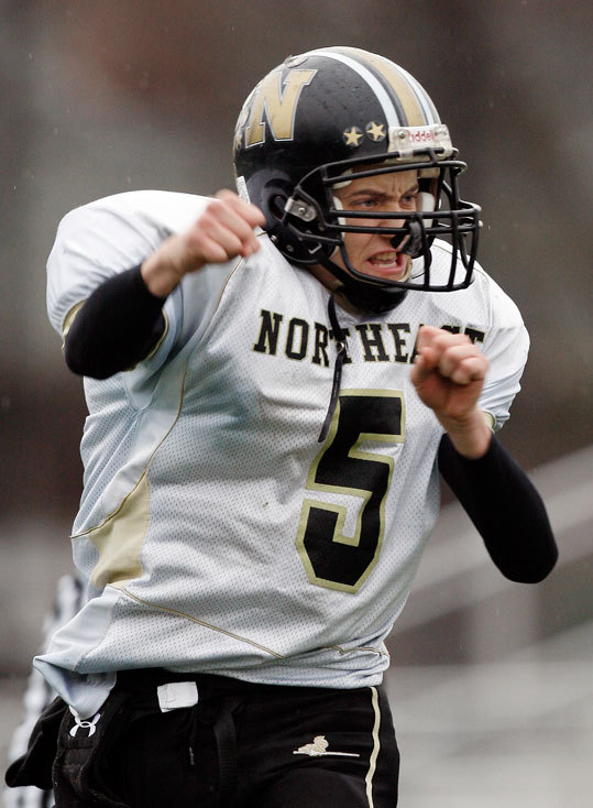 Northeast quarterback Donato Dipietrantonio celebrated a fourth quarter touchdown against Brighton.
