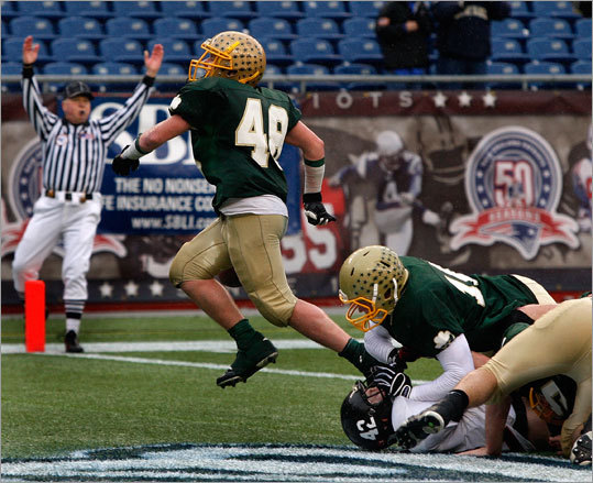 The referee signaled touchdown after Bishop Feehan's Zack Schwieger scored the game winning touchdown late in the fourth.