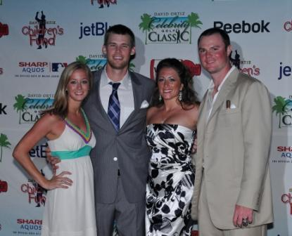 From left, Adair Sturdivant and her fiancee, Daniel Bard, and Farrah and Jon Lester .