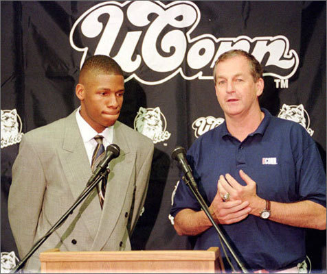 After his elite junior year, Allen announced that he would forgo his senior year to make the jump to the NBA. He's pictured here next to his head coach at UConn, Jim Calhoun.