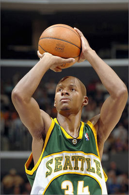 Halfway through the 2002-03 season Allen was sent to Seattle with Ronald Murray and Kevin Ollie in exchange for Gary Payton and Desmond Mason. In Seattle Allen enjoyed the best years of his career. He never averaged less than 23 points per game, and he finished his last year on the Sonics scoring 26.4 points per game.