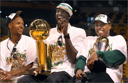 2008: NBA champion Allen (left) teamed with Kevin Garnett and Paul Pierce to bring the Celtics their first title in 22 years in 2008. Allen averaged 17.4 points per game during his first season in Boston and was named an All-Star.