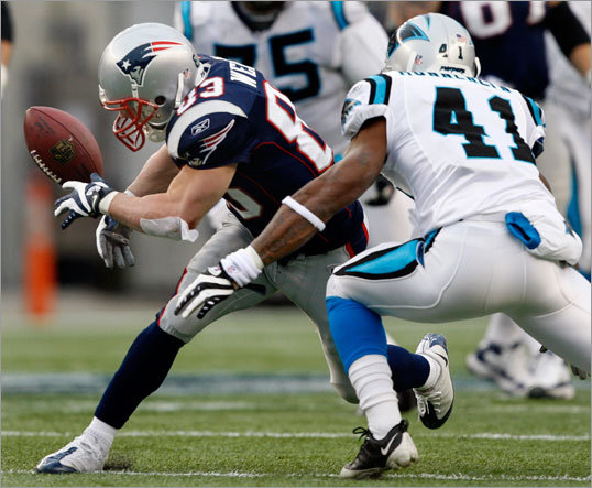 Patriots wideout Wes Welker couldn't hold onto this pass, but he caught 10 balls on the day for New England.