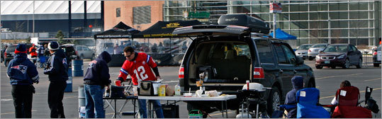 About two and a half hours before kickoff, fans were already tailgating outside of Gillette Stadium as the New England Patriots prepared to play the Carolina Panthers.