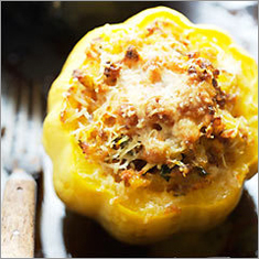 Acorn squash with beef filling