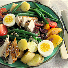 Salad Nicoise with swordfish